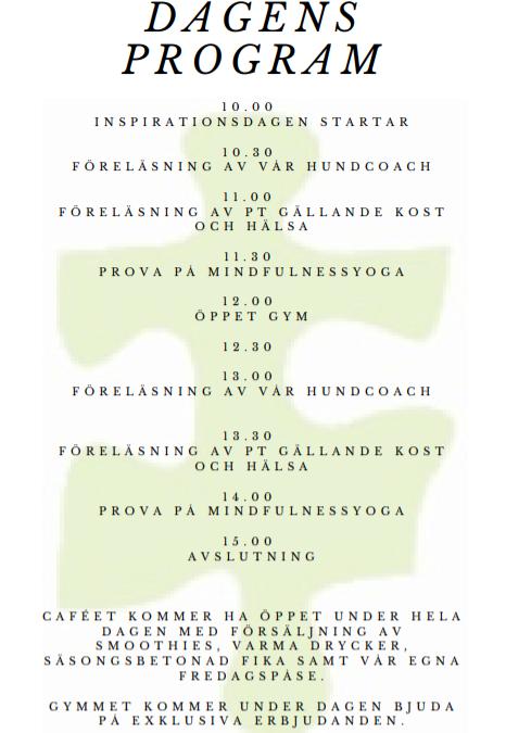 Morgondagens schema för inspirationsdag i Tyresö
